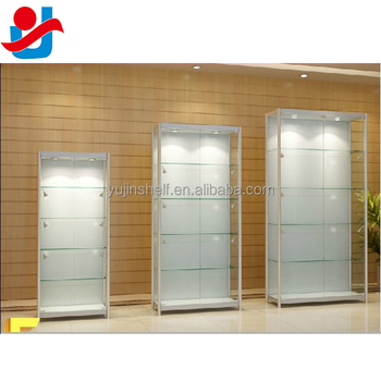 Modern White Lockable Hinged Glass Doors Perfume Display Cabinet For