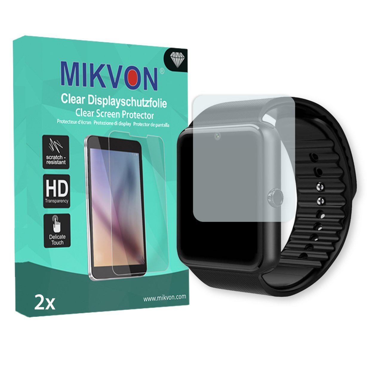 "MIKVON 2X Clear Screen Protector LaTEC 1.54"" Bluetooth Smart Watch - Retail Package Accessories (Intentionally Smaller Than The Display Due to its Curved Surface)"