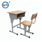 Cheap pre school furniture student desk with bench school chair factory price