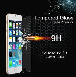 Cakin High Definition (HD) Clear Screen Protectors Premium Tempered Real Glass Screen Guard with 9H Hardness Ultra-thin 0.3mm Rounded Edges for Iphone 6 - 4.7 inches 2 Packs 2 front (1pc free) (I6 4.7 Transparent)