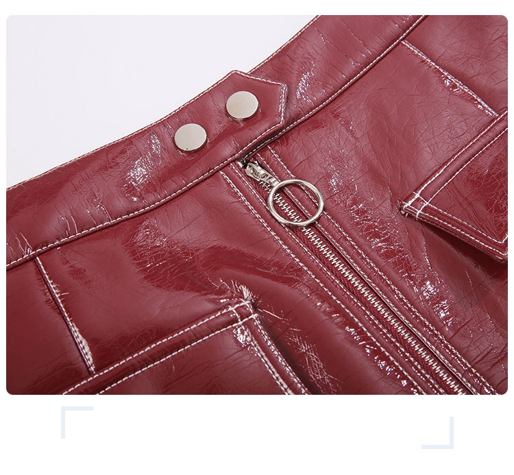 women leather skirt leather short skirt red skirt