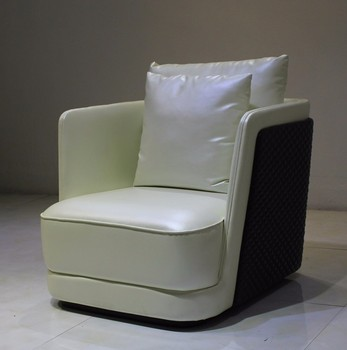 U14 White Leather Modern Sleek Club Chair Well Padded Seat, Backrest, And  Armrests For
