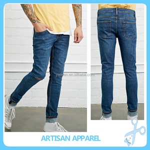 In Trend Slim Fit middle blue wash knees distressed mens jeans 2016 top selling denim pants button closure