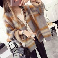 2018 autumn and winter new Korean version of large size loose striped sweater women cardigan sweater cardigan jacket