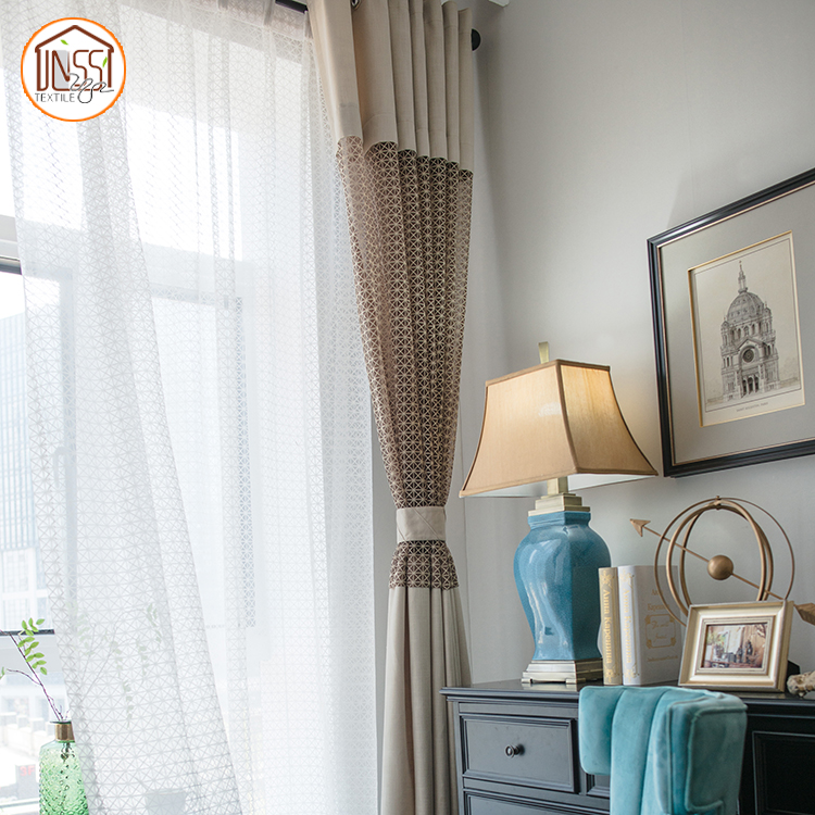 Home decorators Ready style faux plain linen fabric living room window curtain luxury plain soild color curtain