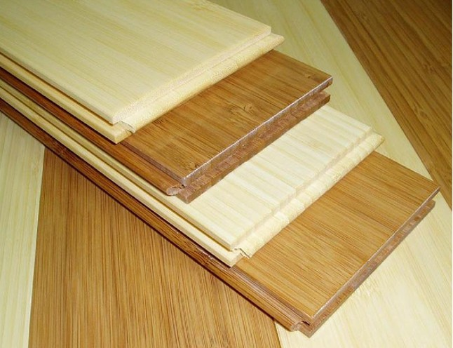 Natural bamboo flooring packaged for outdoor building