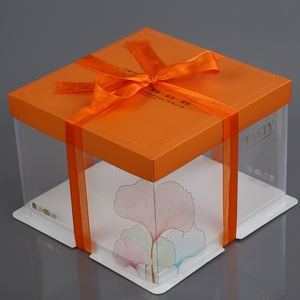 28cm Plastic and Paper bake in cake box with window and lid