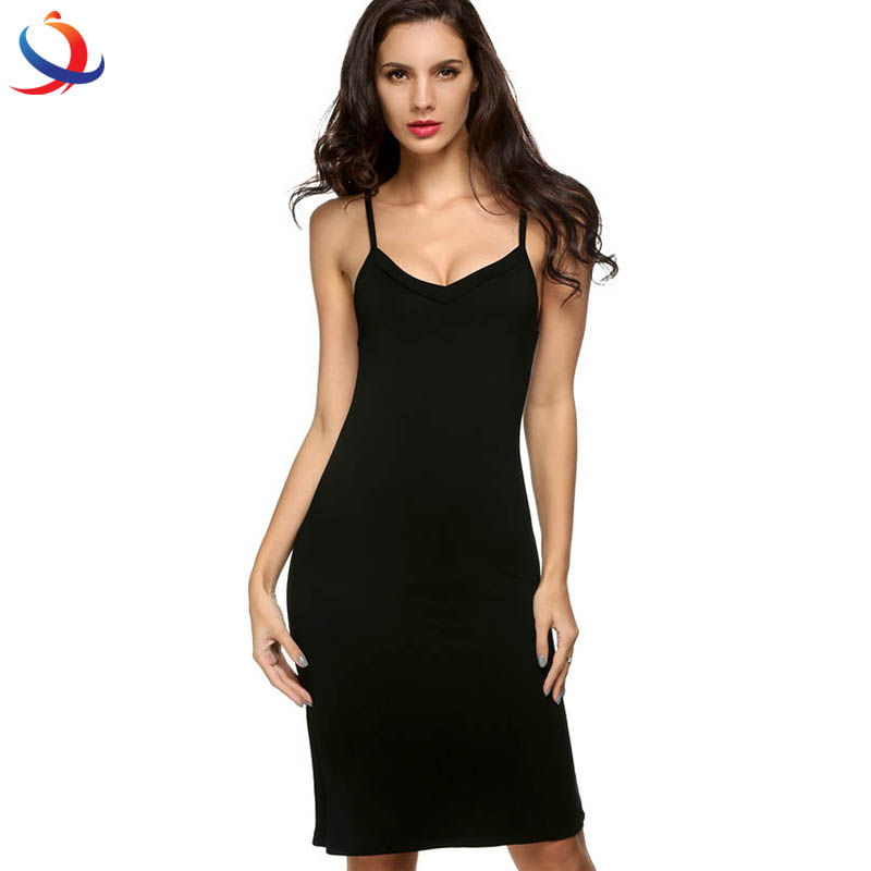 Casual Sexy Strap Slip Sleeveless V Neck Solid Bottoming Straight Dress
