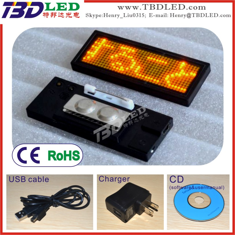 B1236 yellow programmable led name badge,led tags,mini led sign board