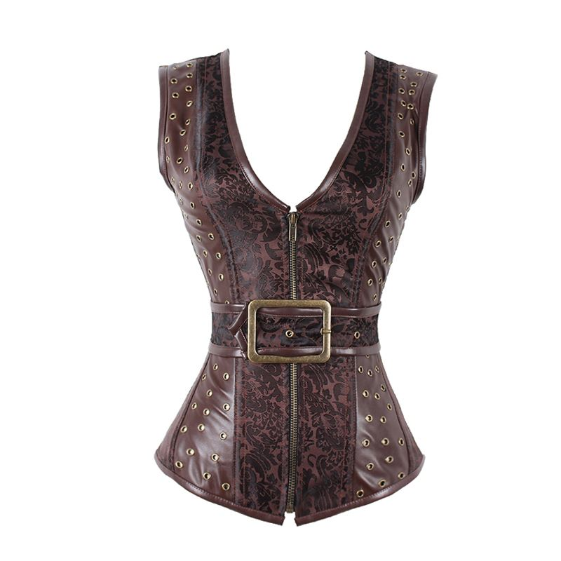 Women Brown Vintage Steampunk Corset Sexy Steel Boned Corselet Top Women Gothic Overbust Bustiers & Corsets Waist Trainer -B, Brown corsets and bustiers