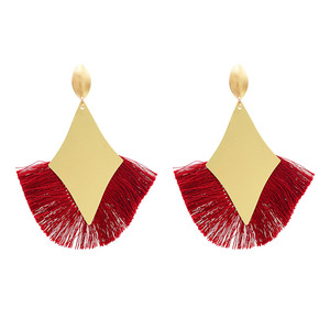 Fashion Gold Metal Earrings Cotton Thread Tassel Drop Earrings For Women Boho Wedding Party Ear Jewelry Gift