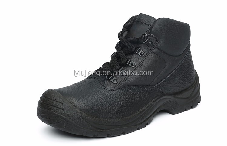 LUJIANG SAFETY Black Leather Safety Shoes Work Boots With lace/Metal Toe Cap Safety Shoes For Construction