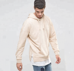 Custom side split/slit sweatshirt hoodie drop shoulder beige solid/pure color hoodie men hoody with front pocket long sleeve
