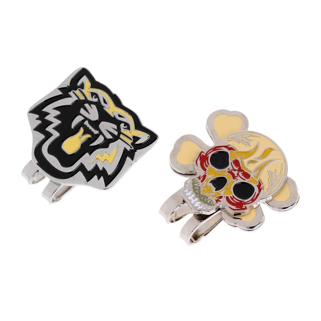 MonkeyJack 2 Pieces Alloy Stylish Tiger Skull Magnetic Golf Ball Marker Clip On Golf Cap Visor Golf Accessory Gift