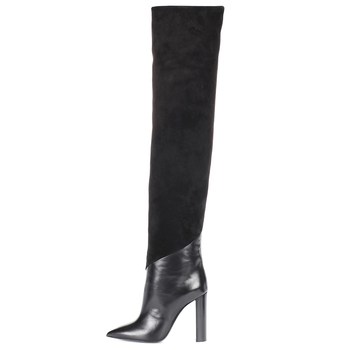 b21e8bdf187 Slip On Pointy Long Boots Ladies Winter Stylish Heels Shoes Women Chunky  High Heel Pointed Toe Black Over The Knee High Boots - Buy Over The Knee  High ...