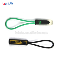 Custom logo garment accessory injection zipper puller with cord