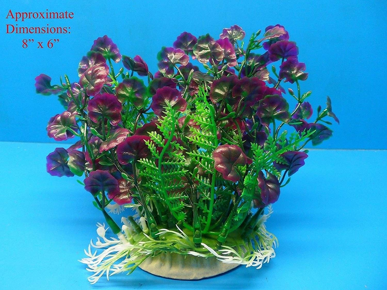 "Azaina_atl AQUARIUM DECORATION - PLASTIC PLANT W HEAVY BASE A50205 6"" H x 8"""