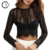 Custom Ladies Sexy Black Lace Long Sleeve See Through Crop Blouse