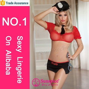 Sunspice Lingerie wholesale top quality red and black spandex and nylon adult Police costume