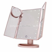 Plastic 3 way mirror for eye makeup with led light/foldable pocket mirror