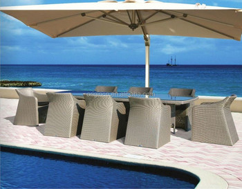 High Class Exotic Style Hotel Swimming Pool Rattan Wicker Dining Set  Japanese Outdoor Furniture