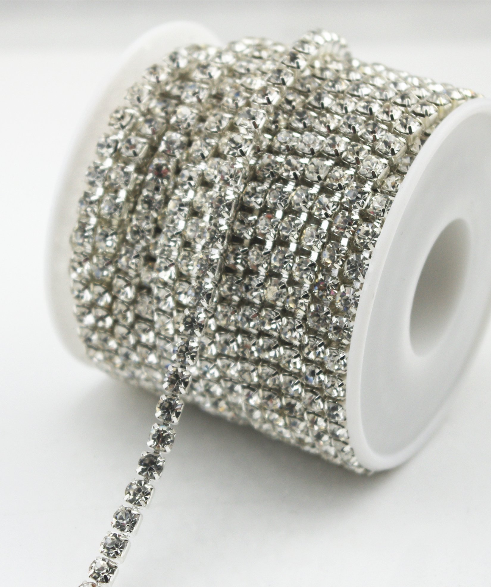 1 row 2 rows 3-rows 4-rows 5-rows 6 rows crystal rhinestone trims close silver chain Costume Applique Sew On Rhinestone Wedding Dress Decoration ss16 (3 ROWS)