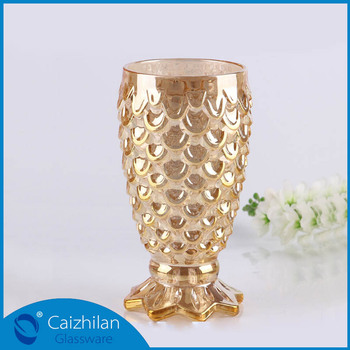 Creative Fashion 185cm Tall Small Gold Fish Shape Footed Glass Vase
