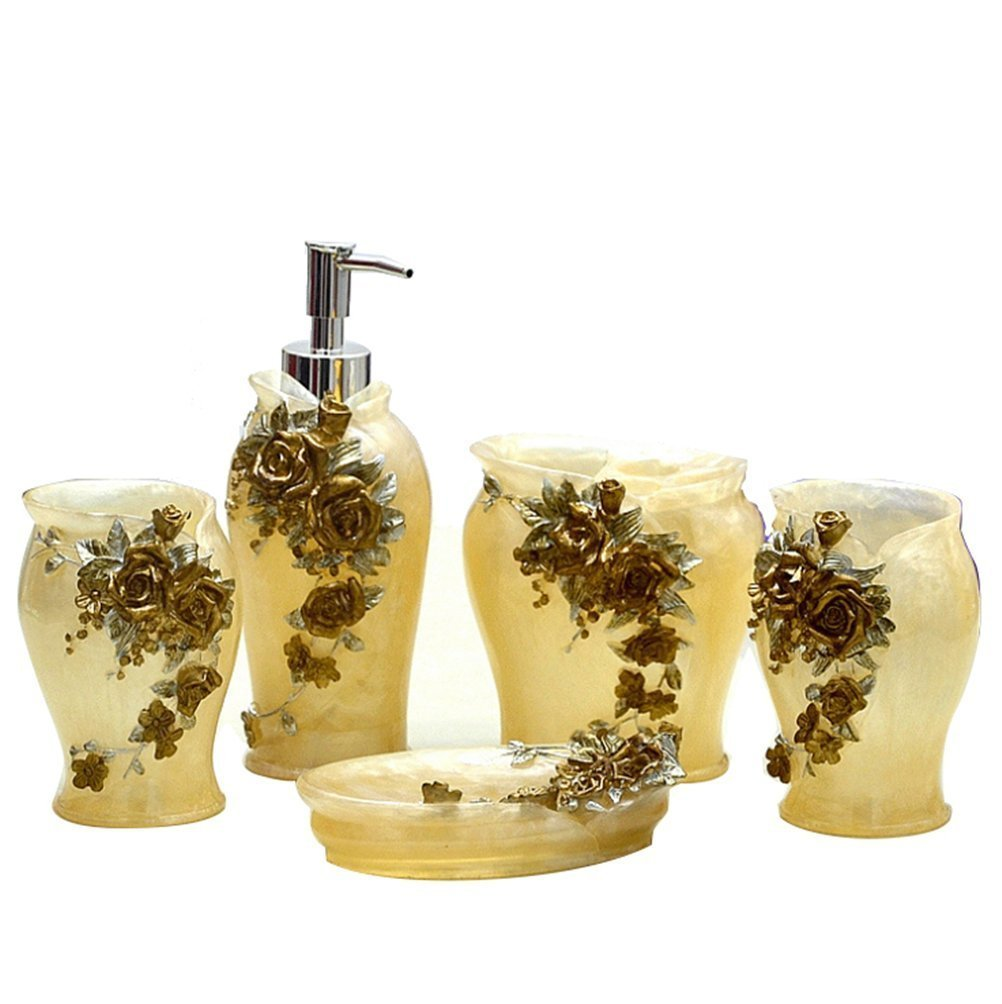 Buy Country Style Resin 5PC Bathroom Accessories Set Soap Dispenser ...