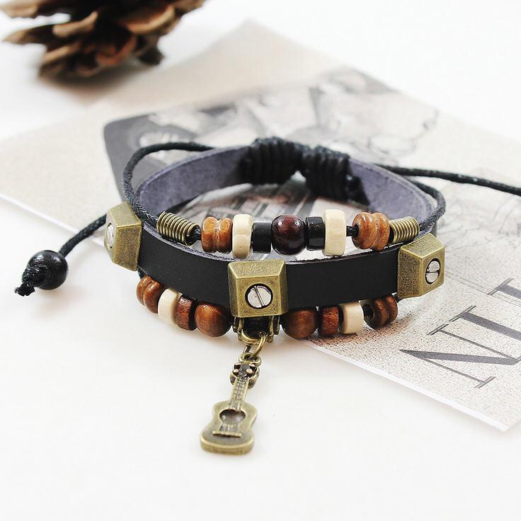 Ba148 ручной работы гитара натуральная кожа регулируемый браслет ювелирные изделия бижутерия браслет для серфинга унисекс мужчины женщина