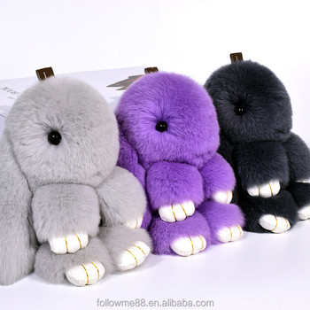 2019 Cute Fluffy Bunny Keychain Pendant Rabbit Fur Pompoms Key Chain Fur  Pom Pom Keychain Bag 686153b70dfc