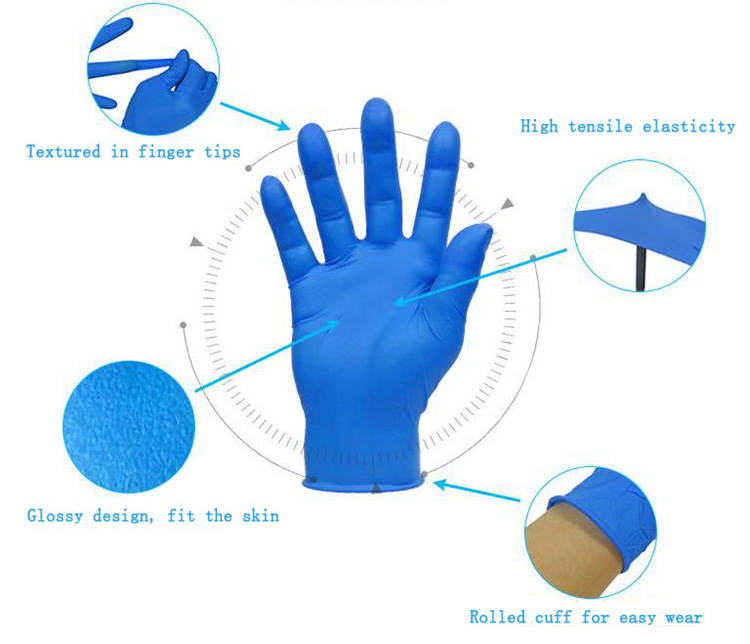 Hot selling disposable Dark Blue Nitrile Gloves with OEM brand
