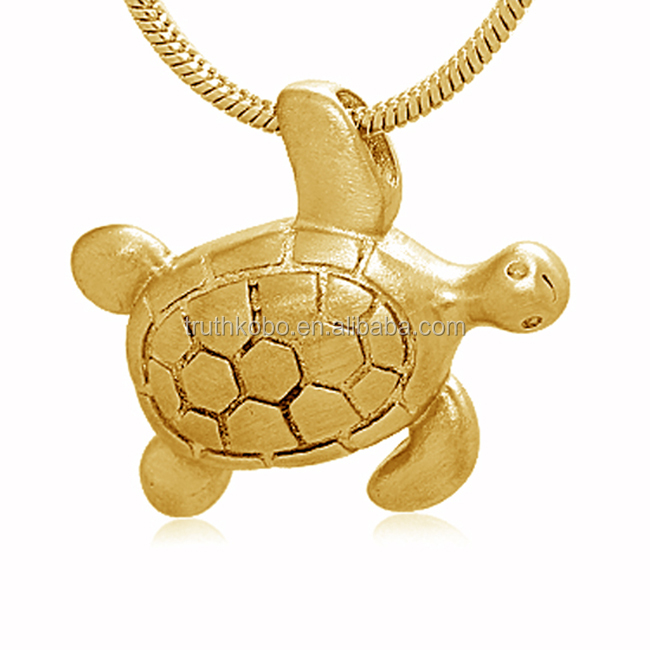 Fashion Personalized Custom Design 18K Gold Stainless Steel Lovely Longevity Animal Themed Turtle Cremation Urn Pendant For Ash