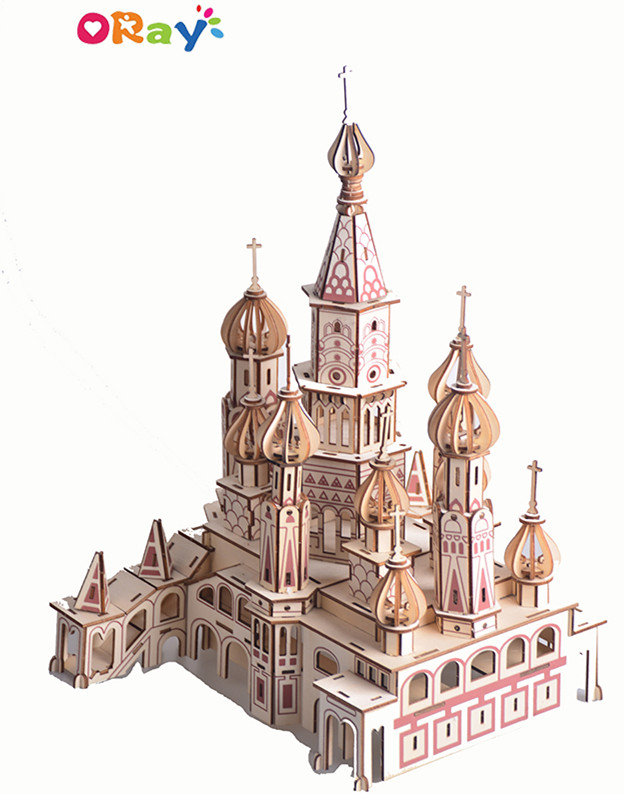3D Jigsaw Puzzle Mini Famous Building-Russian Basily Cathedral Architectural Wooden Puzzle