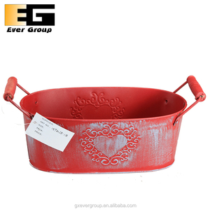 Garden decoration red zinc plant metal trough with handles