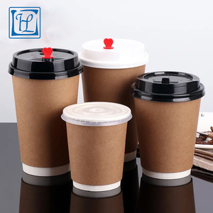 Thickened double wall waxed paper cup disposable soda drink cup