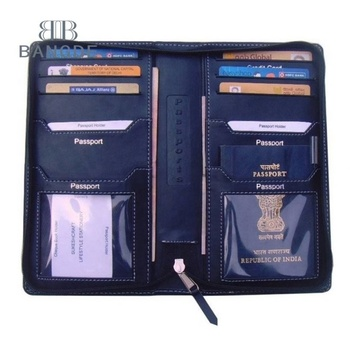 Zipper PU leather family passport holder personalized hold 4 passports