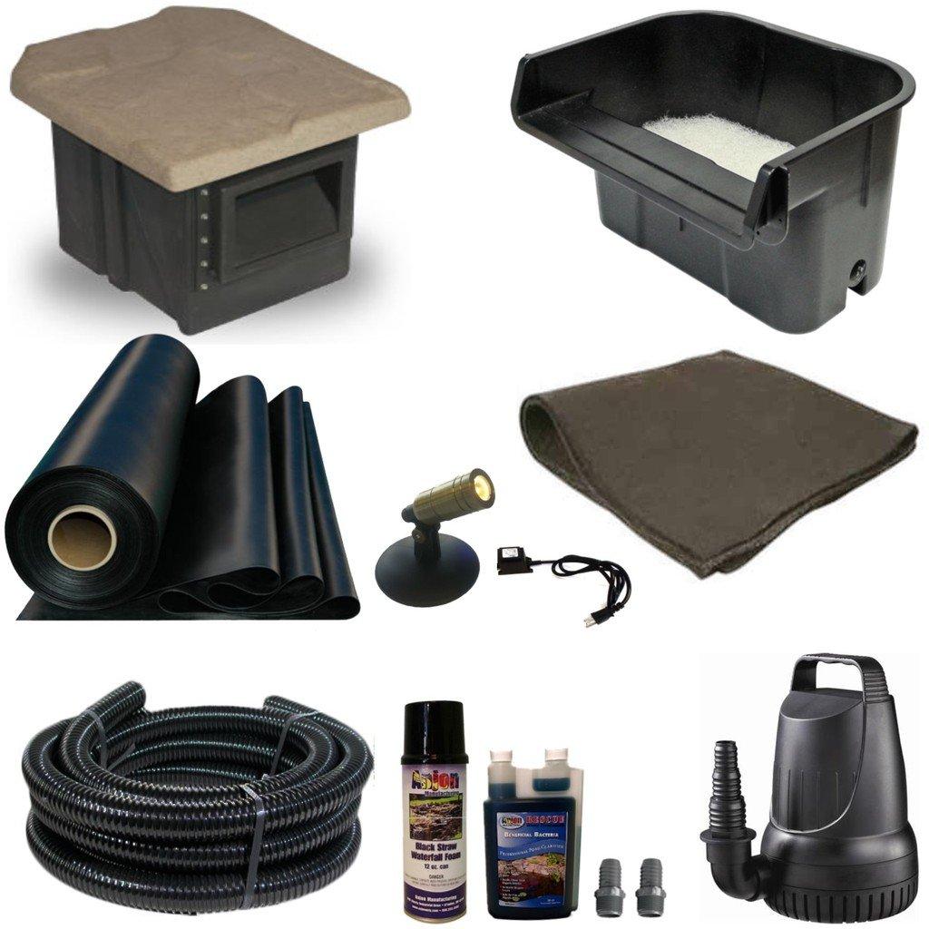 "Half Off Ponds XSH0 - Compact Hybrid EPDM Pond Kit w/ 15' x 20' LifeGuard Pond Liner, 2,100 GPH Pump, 16"" Savio Waterfall, and PondBuilder 6"" Skimmer"