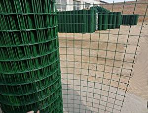 V Proteck 11 Gauge 5ft-Hx49ft-L PVC Coated Wire Mesh Fence,Poultry Netting Gutter Guards For Flower Plants Support,Backyard Rabbit Fencing, 2.4 Opening, Garden Green