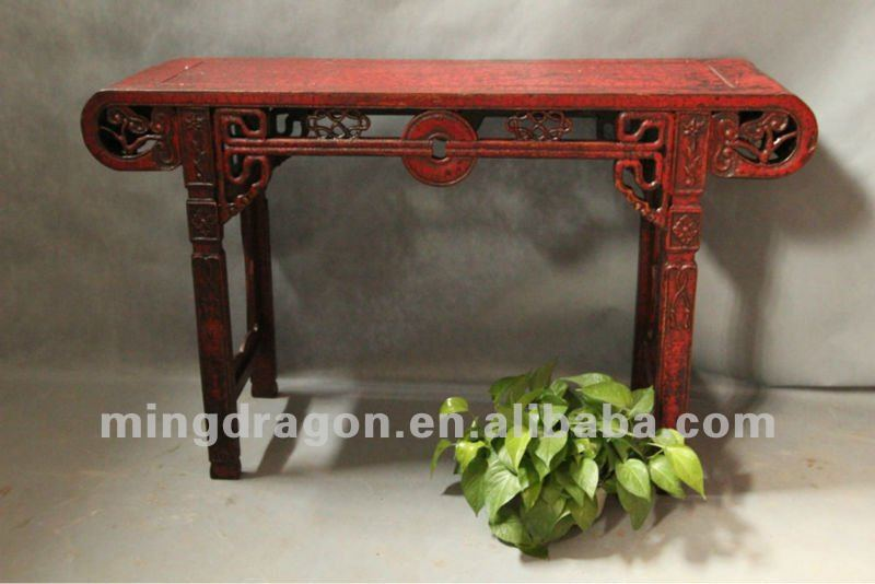 Chinese antique furniture pine wood Shanxi red/black altar table