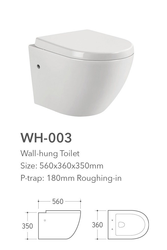 european durable porcelain wall hung toilet dimensions with standard