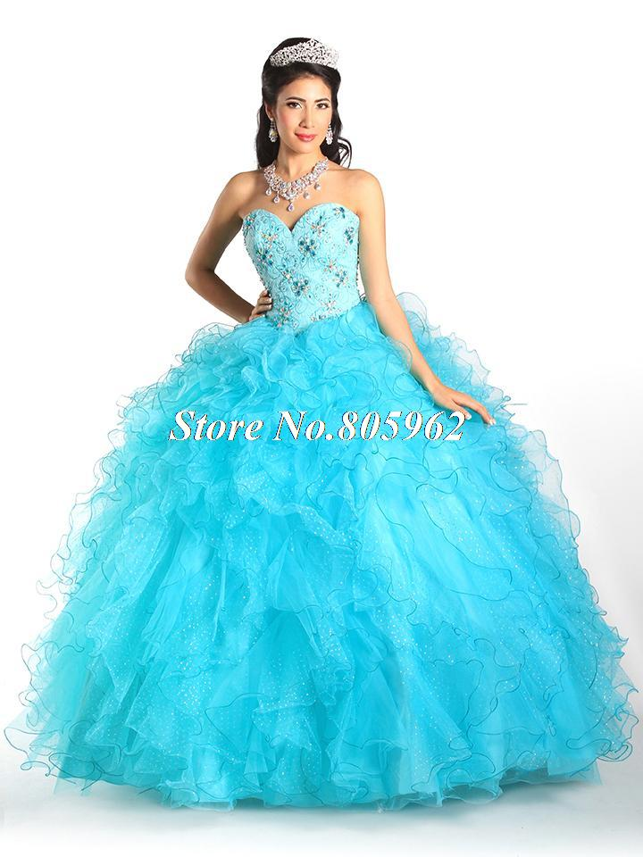 0e80088014d Get Quotations · Sexy Blue Quinceanera Dresses 2015 Ball Gown Sweetheart  Organa With Beaded Vestidos De 15 Anos Cheap