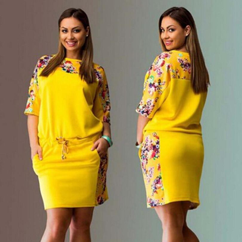 f1171518129 2016 Large Size 6XL Women Dress Floral Printed Straight Dress Plus Size  Women Clothing 6XL Big