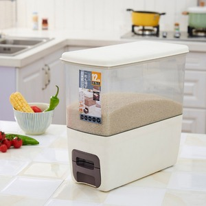 Creative multifunction kitchen rice grain storage box measuring plastic barrel