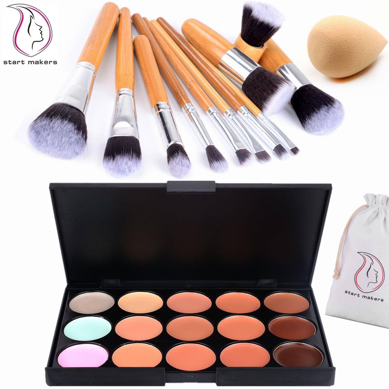 Start Makers 15 Colors Ultra Contour Palette Kit - 11pcs Professional Bamboo Makeup Brushes - Cosmetics Cream Contour and Highlighting Makeup Kit - Blemish Concealer Palette Kit - Makeup Sponge