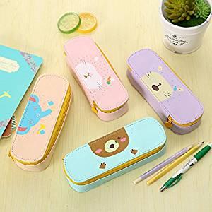 Katoot@ Korean cute animals PU leather school pencil case for girls Big capacity Storage pen pouch Kawaii stationery school supply
