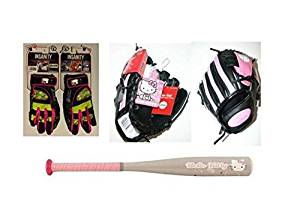e44a0367a Get Quotations · Hello Kitty Baseball Bundle: Easton Hello Kitty Bat, Hello  Kitty Mitt, and Franklin