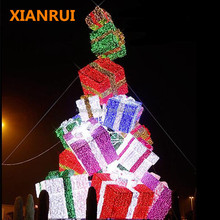 Giant outdoor/indoor high quality 3d led christmas tree with gift box,Led angel for top of christmas tree