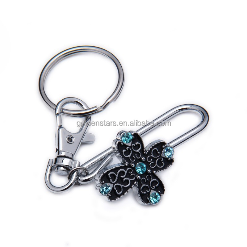 free sample lobster key ring for bag accessories bag decoration with fashion key finder diamond flowers key chain for bag parts