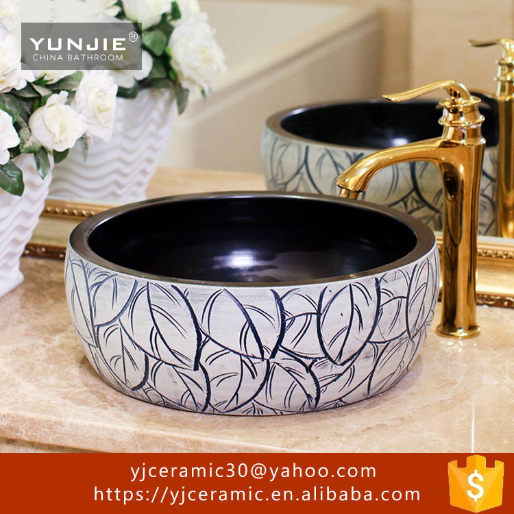 Jingdezhen ceramic black and white stripe bathroom hand wash sink