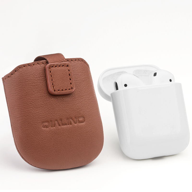 QIALINO 2018 New Arrival Released Nappa Leather Sleeve Case For airpods фото